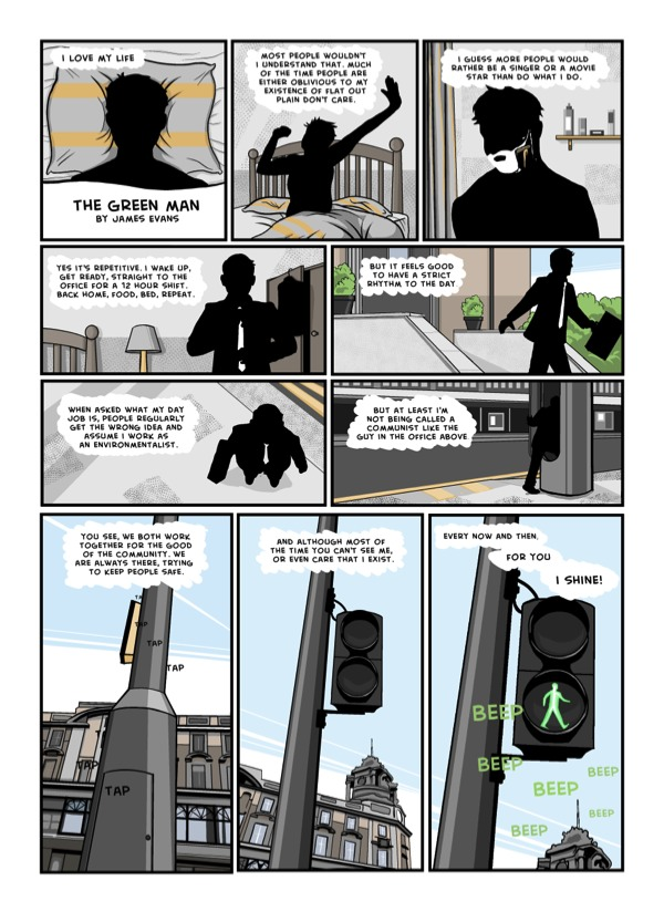 Digital comic the green man about a yound man and the loneliness of the city life